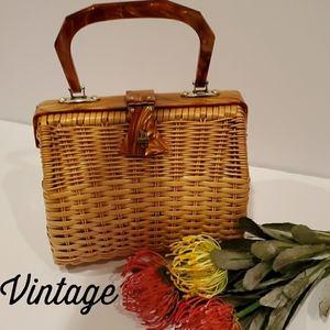 VINTAGE Hong Kong Coated Rattan Bakelite Handbag